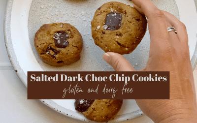 Gluten Free Salted Dark Chocolate Chip Cookies