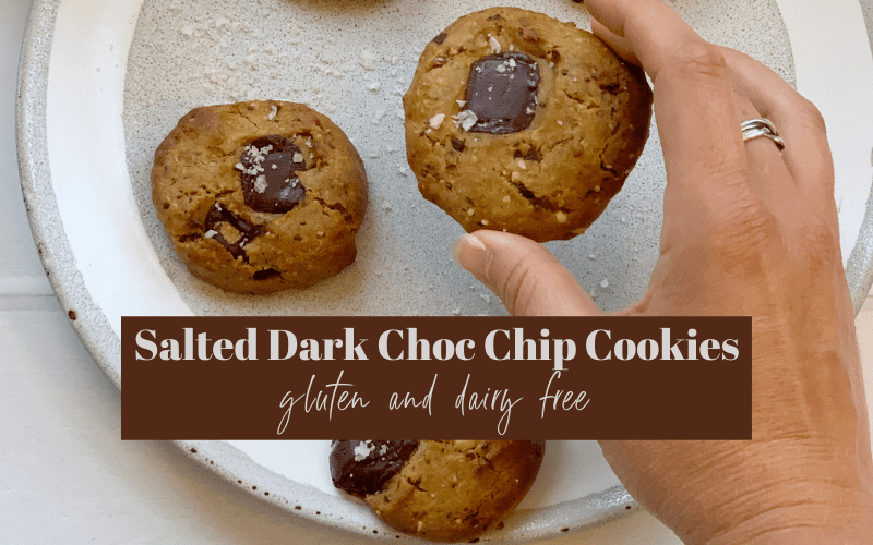 Gluten Free Salted Dark Chocolate Chip Cookies